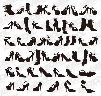 Variety of fashion shoes for women silhouette vector material
