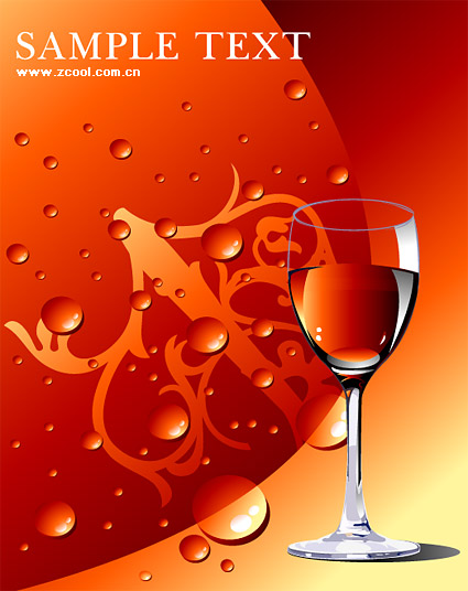 Red wine glass with water Vector material