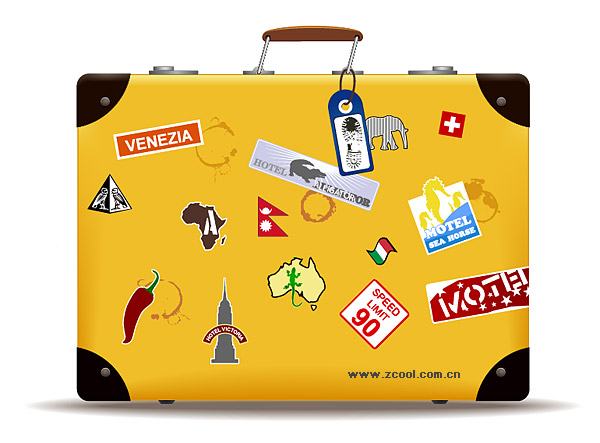 Yellow suitcase vector material