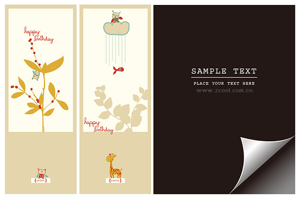 Bookmark with lovely pictorial paper angle vector material