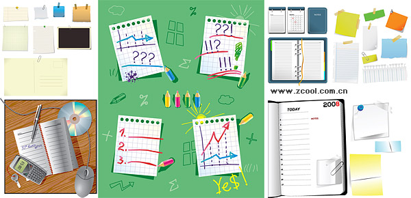 Variety of stationery material vector