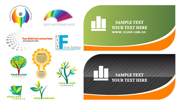 Cards and logo template vector material