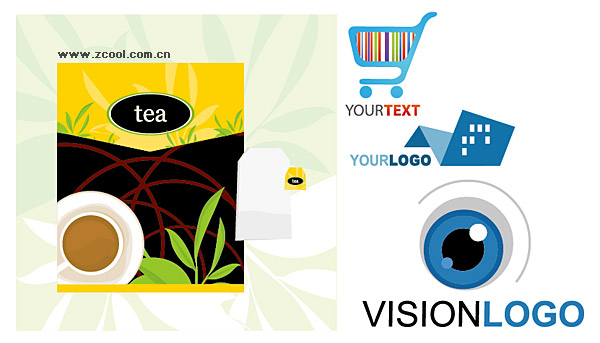 Tea packaging and logo template vector material