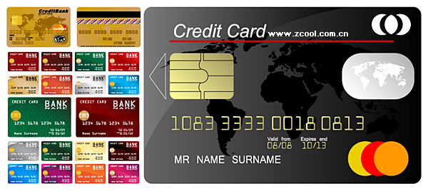 Multiple credit card template vector material
