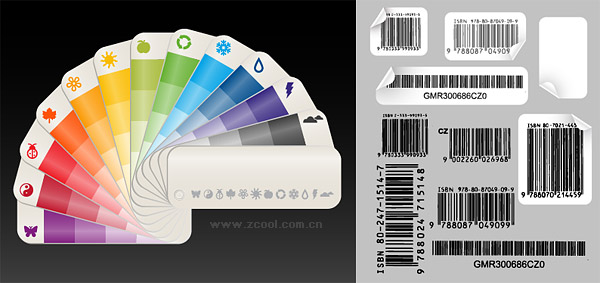 Color paper card with bar code vector material