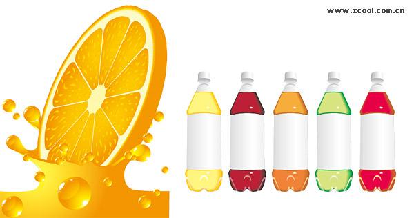 Orange juice bottles and empty vector material