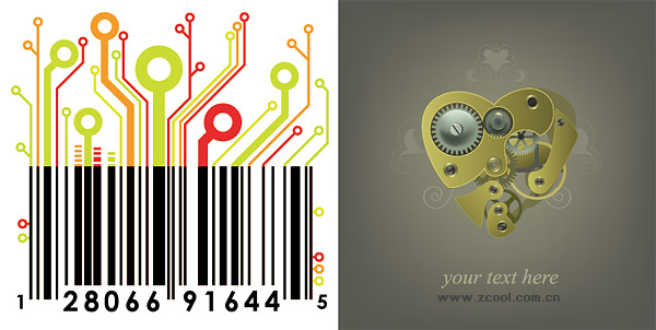 Mechanical Heart and circuit board material bar code vector