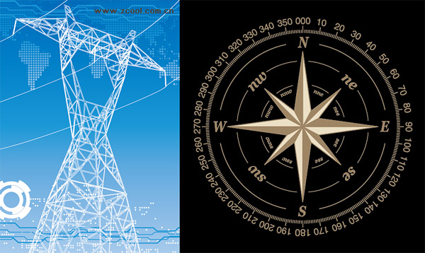 High-voltage wire racks and compass vector material