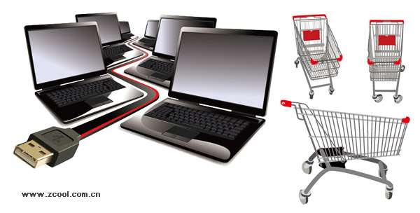 Laptop and Cart vector material