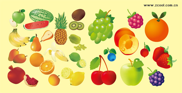 Variety of fruits vector material