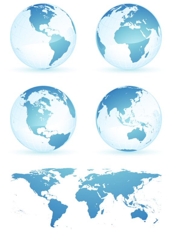 Crystal blue earth world map vector material