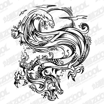 Fierce dragon vector material