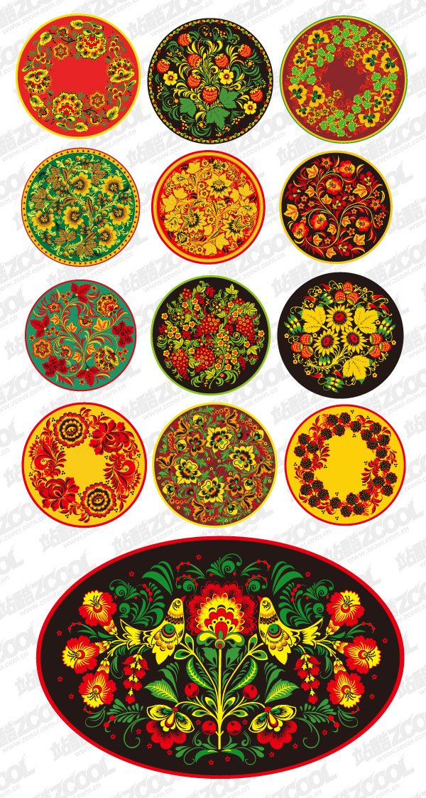 Classical pattern vector material series -2 - circular pattern