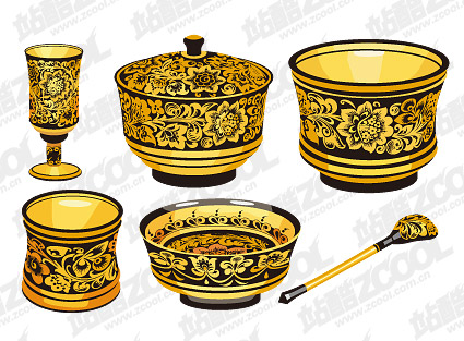 Classical pattern vector material Series -1 - golden utensils
