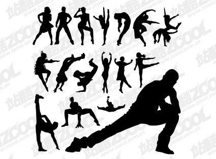 Vector People silhouette dance moves material