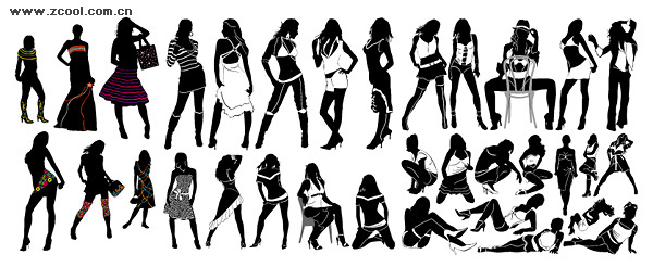 Variety of fashionable female silhouette vector material