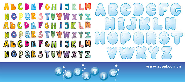 cute letters of the alphabet vector material