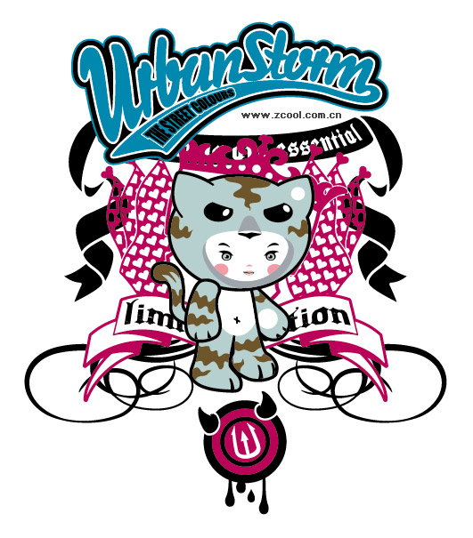Cute Cartoon T-shirt design Vector material