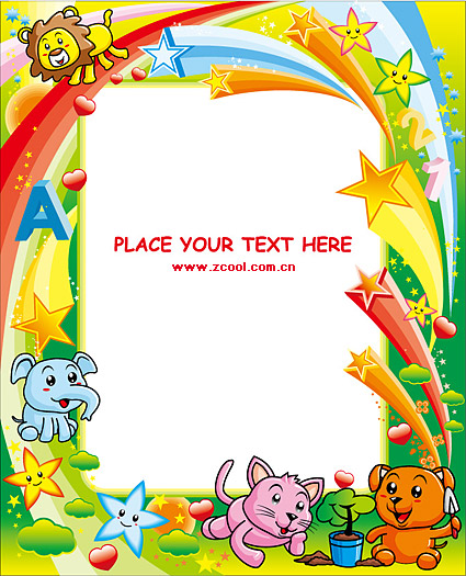 Cute colorful animal picture frame vector material