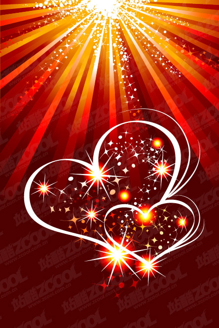 Heart-shaped flashlight and the light vector material