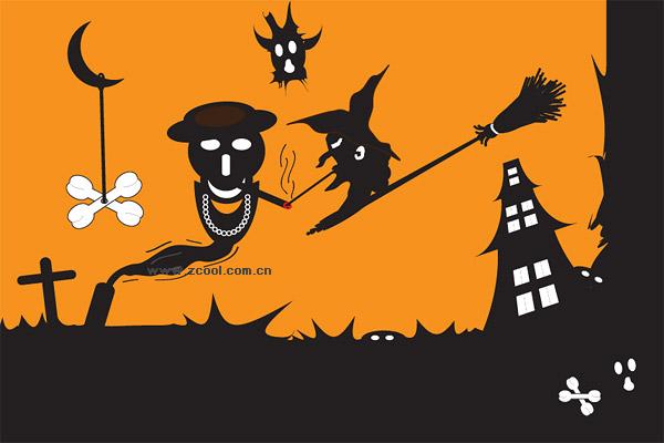 Halloween ghost vector material