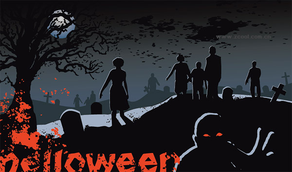 Halloween graveyard ghost vector material