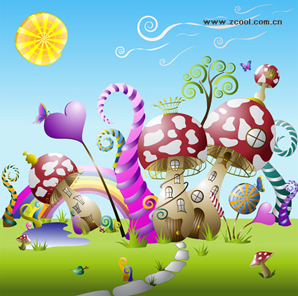 Cute fairy-tale world vector material