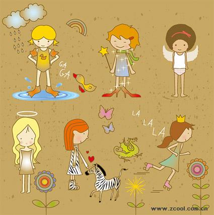 Cute cartoon girl vector material
