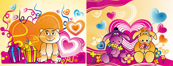 The theme of love cartoon vector material