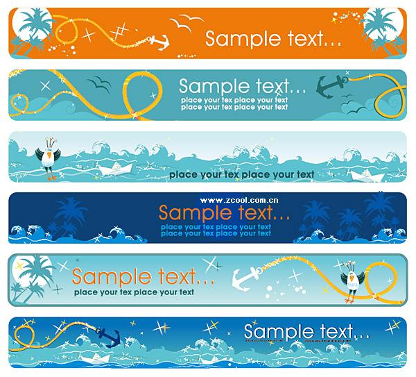 Sea theme Vector banner material