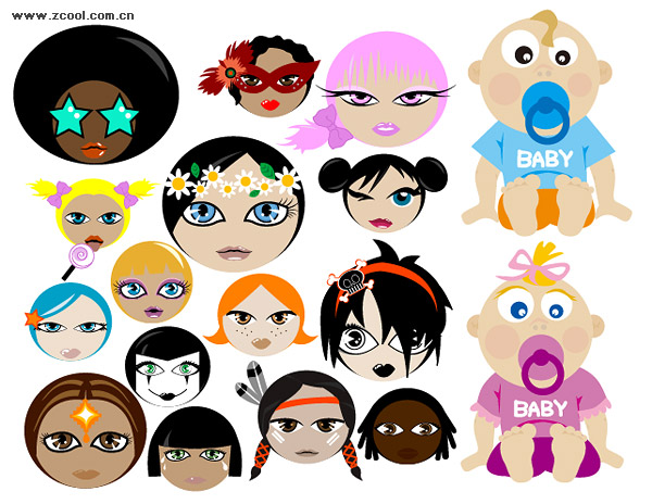 Cute cartoon characters vector material