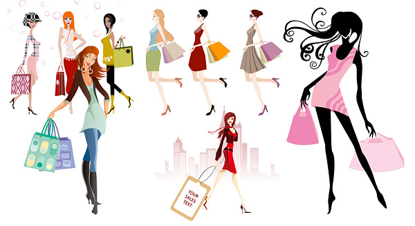 Fashion shopping girls vector material