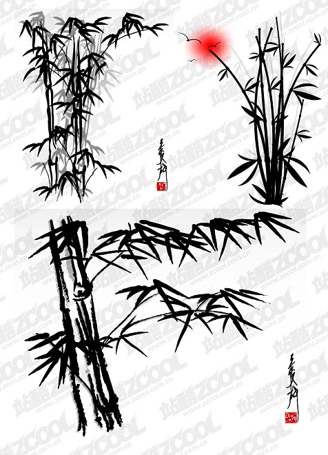 Vector ink bamboo materials