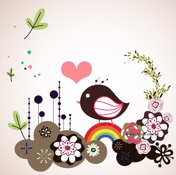 Flowers vector illustration cute birdie material