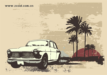 Coconut tree retro style car vector material