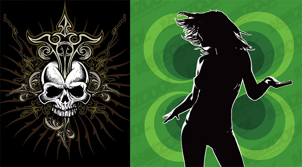 Woman silhouette with the skull vector material