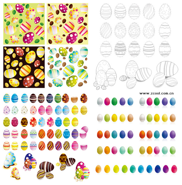 Easter eggs Vector variety of materials
