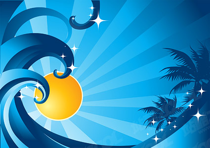 Coconut tree sun wave vector material