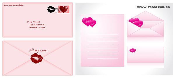 Love envelope vector material