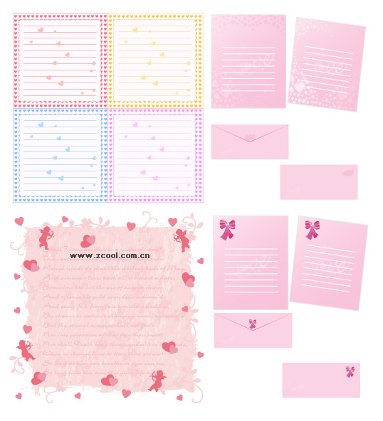 Writing pads, heart-shaped vector material