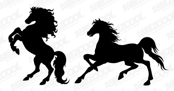 Horse silhouette vector material-2