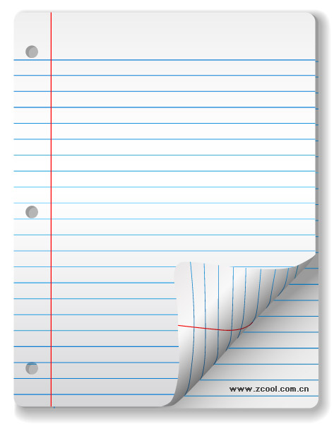 Vector blank notebook paper material