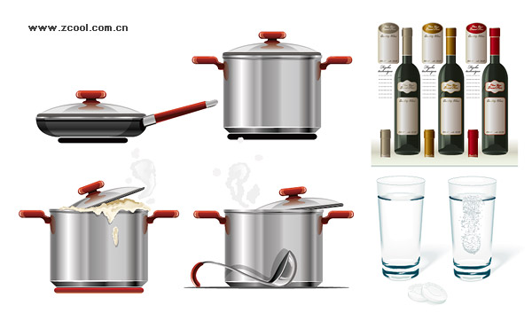 Red wine glass tableware vector material