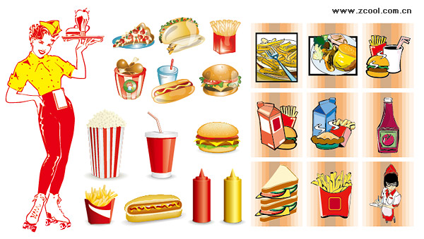 Fast food vector material