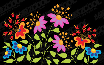 Lovely butterfly shaped flowers vector material