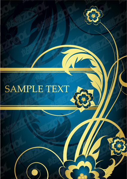 Golden fashion pattern vector material