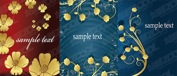 golden flower pattern vector