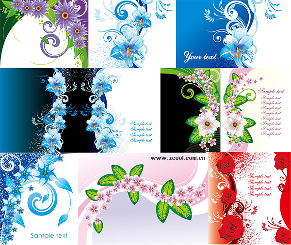 exquisite flower pattern vector material