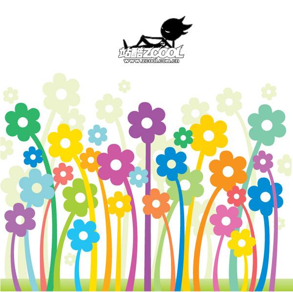 Lovely flowers vector illustration material