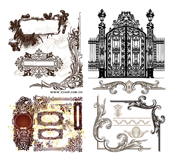 Variety of practical European-style lace pattern vector material